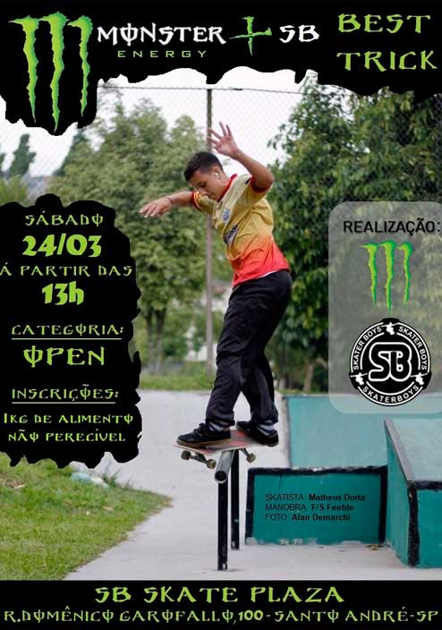 Primeira edicao do Monster Energy na SB Skate Plaza
